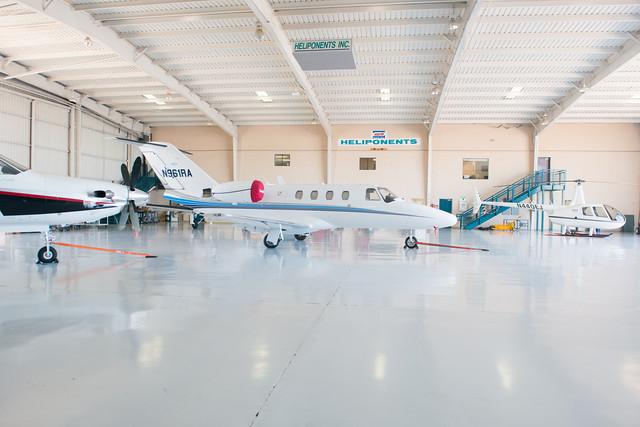 fixed wing cessna & Pilatus pc-12 in hangar